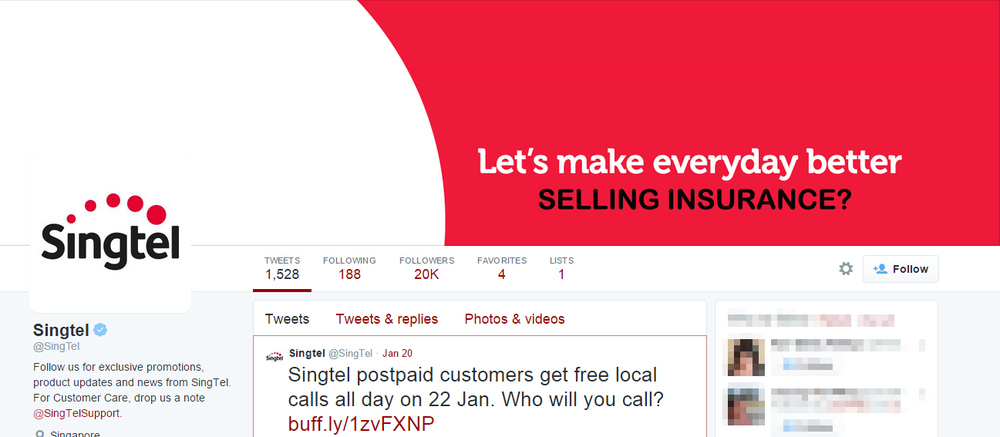 SingTel's Twitter account after the revamp. The generic colour scheme and tagline looked like any insurance or banking company that used red and white - two very common colours companies like Prudential, AIA, OCBC and DBS bank just to name a few would use in this region.