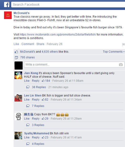 Facebook fans were quick to air their views on the fishy business McDonald's Singapore had to offer.