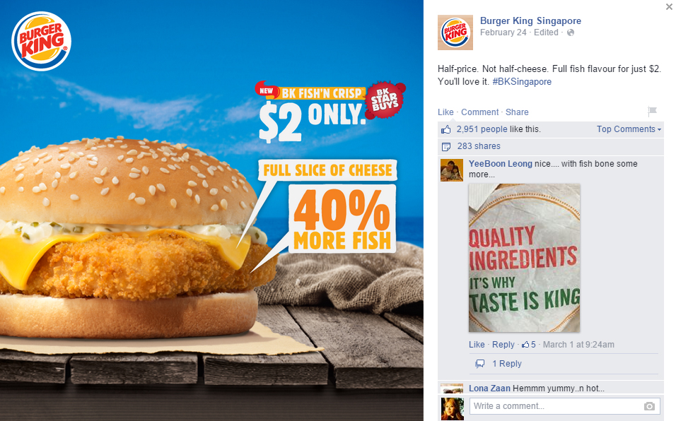 Burger King takes a dig at McDonald's with a full slice of cheese and proper fish patty.