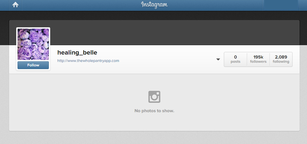 Belle Gibson's instagram account with all photos and information completely wiped out.