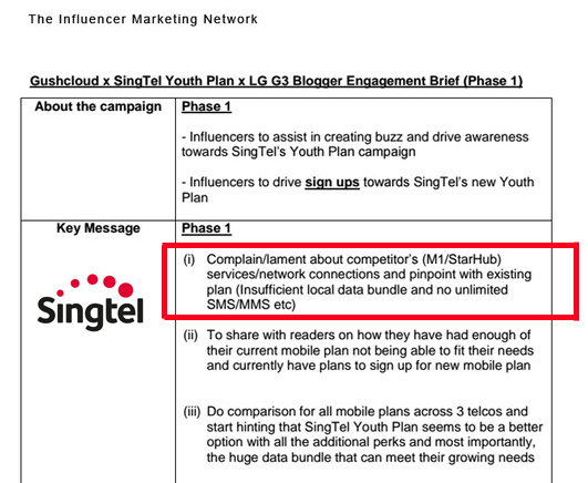 Part of the leaked Singtel - Gushcloud blogger engagement marketing brief that can be found  here .