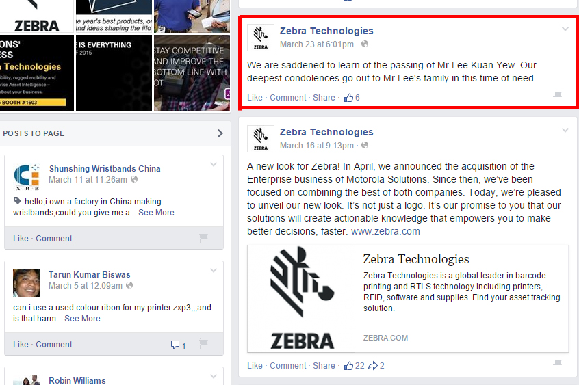 An irrelevant post by Zebra technologiescan be seen as jumping on the bandwagon to pay tribute toSingapore's political leader.