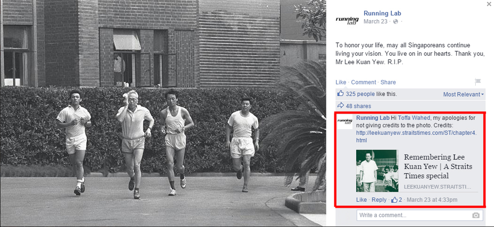 A picture of late Singapore prime minister Mr Lee Kuan Yew jogging from Running Lab's Facebook page.