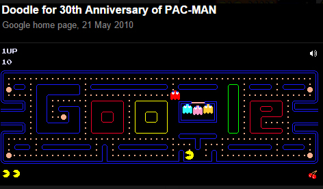 """Google Doodle featuring a playable version of Pacman around a """"Google"""" brand maze"""
