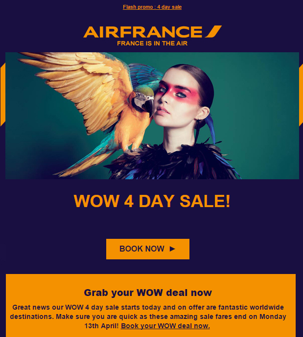 Surprised to see last year's racist Air France advertising campaign images resurfacing on E-newsletters to customers. Pictured here is a white Caucasian model with face paint and feathers all made up to resemble a Native American Red Indian.