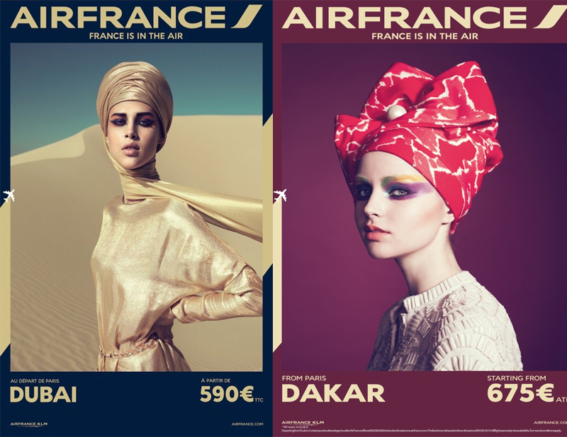 More white models dressed in local traditional headdresses such as in Dubai, United Arab Emirates and Dakar, Senegal.