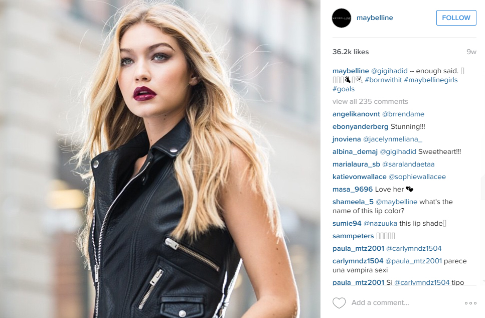 Iconic star: Gigi helps Maybelline New York receive the most interaction they could ever have - over 36,000 likes on one Instagram post.
