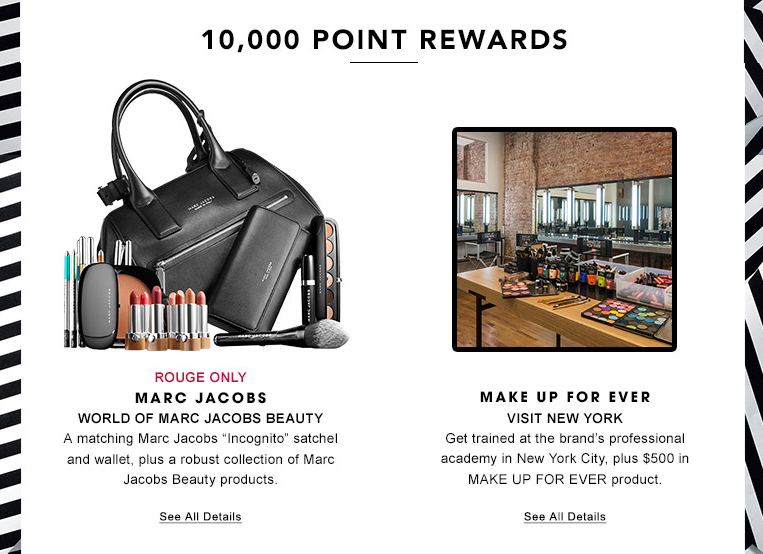Sephora top redemption items included a weekend trip to Paris with Lancome and air tickets to New York City to Make Up For Ever's professional academy or a pair of ticket to GlamGlow California's headquarters.