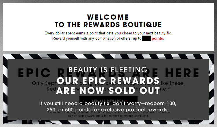 The Sephora redemption event took place for less than a minute.Good example of a loyalty marketing programme gone wrong.
