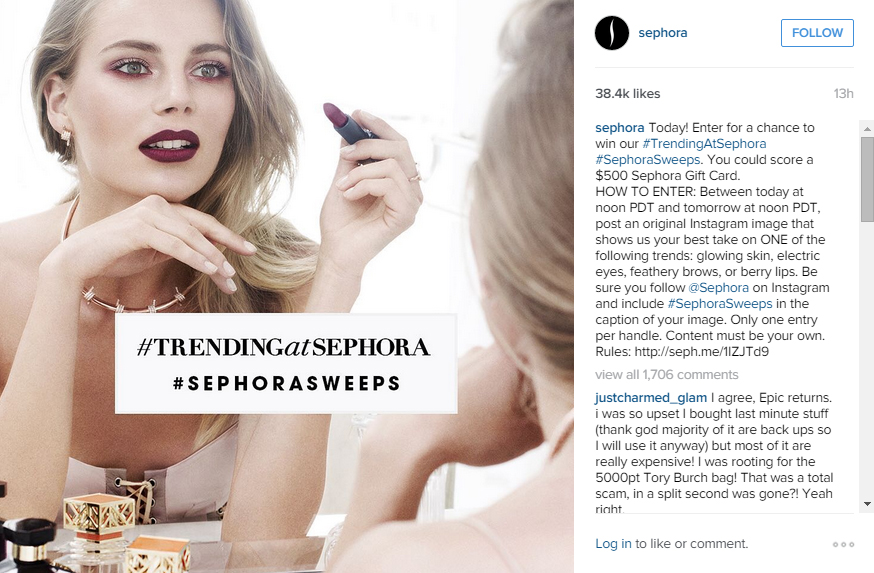 Minutes after the failed Epic Rewards redemption eventlaunch, Sephora quickly released a makeshift contest with hopes of dispelling angry customers.