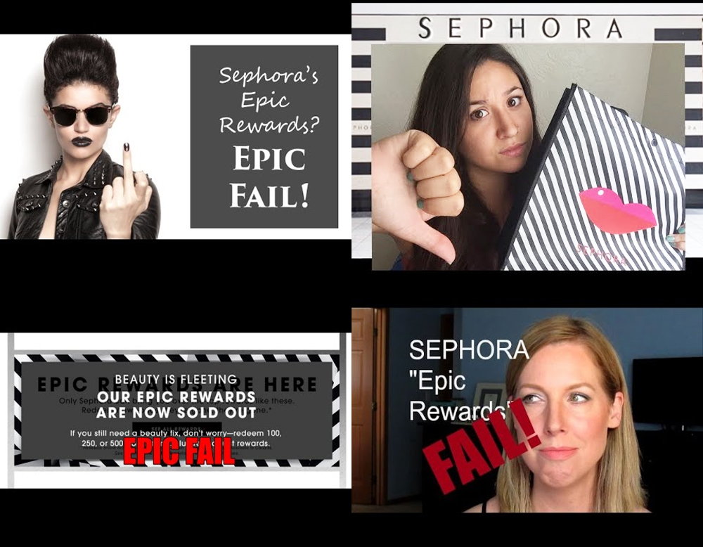Screen-grabs of YouTube rants from unhappy Sephora customers and beauty bloggers. (Source:  Phyrra Nyx ,  ,   Heather King ,  Frugalista Blog )