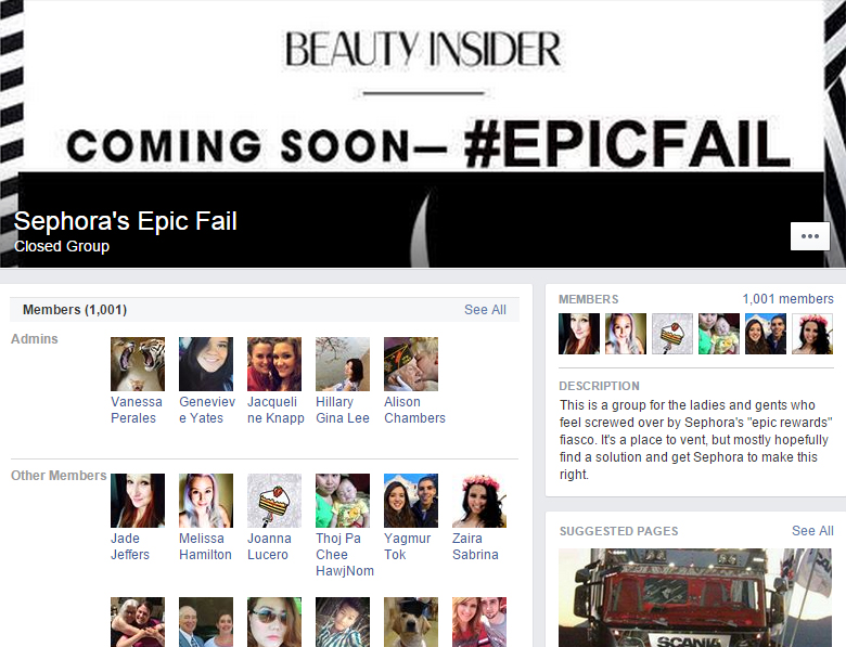 Once loyal Sephora members, now angry beauty renegades -  Sephora's Epic Fail facebook page