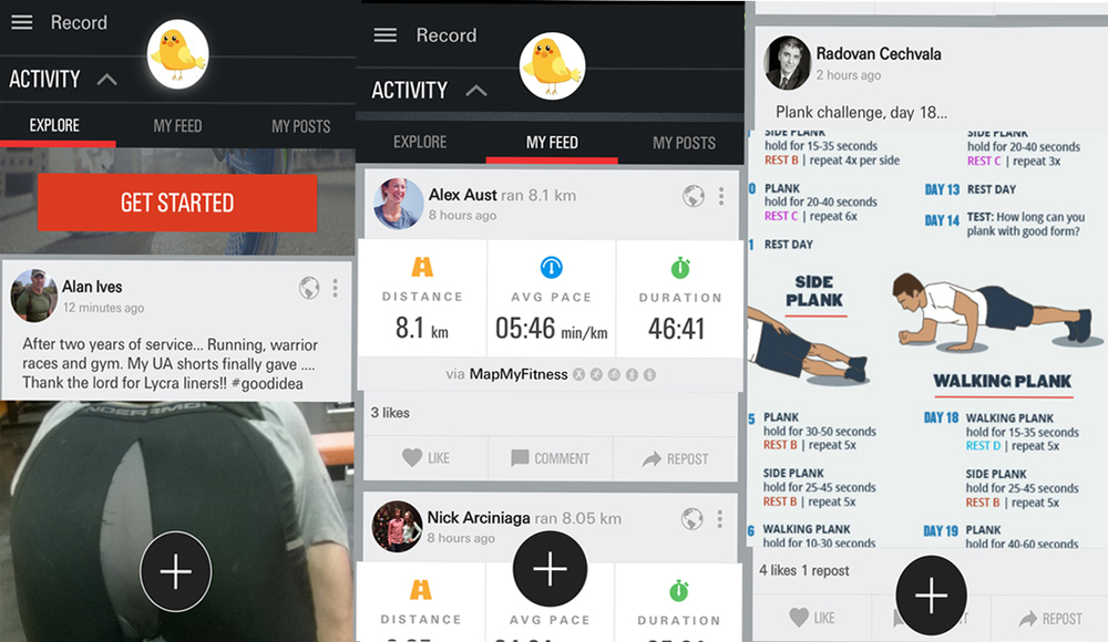 Fitness enthusiasts and friends who motivate you to be better on the Under Armour Record mobile app