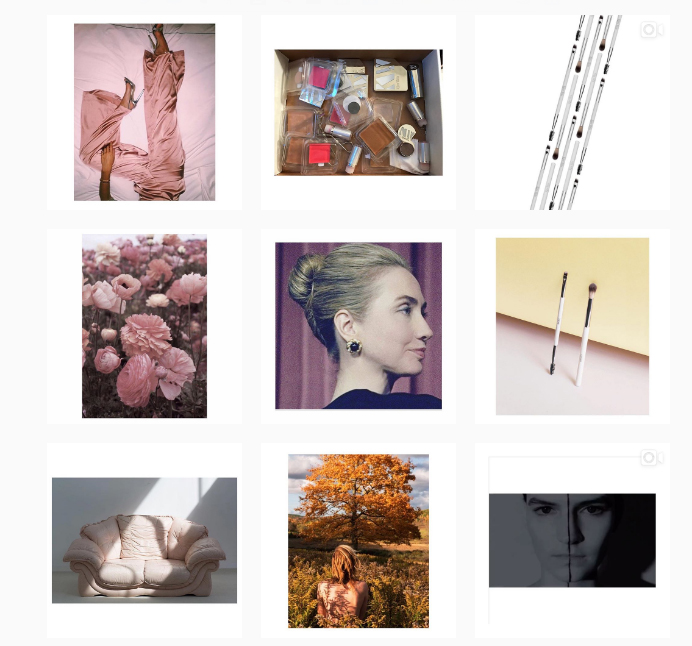A tile view of beauty brand  Kjaer Weis' instagram  account