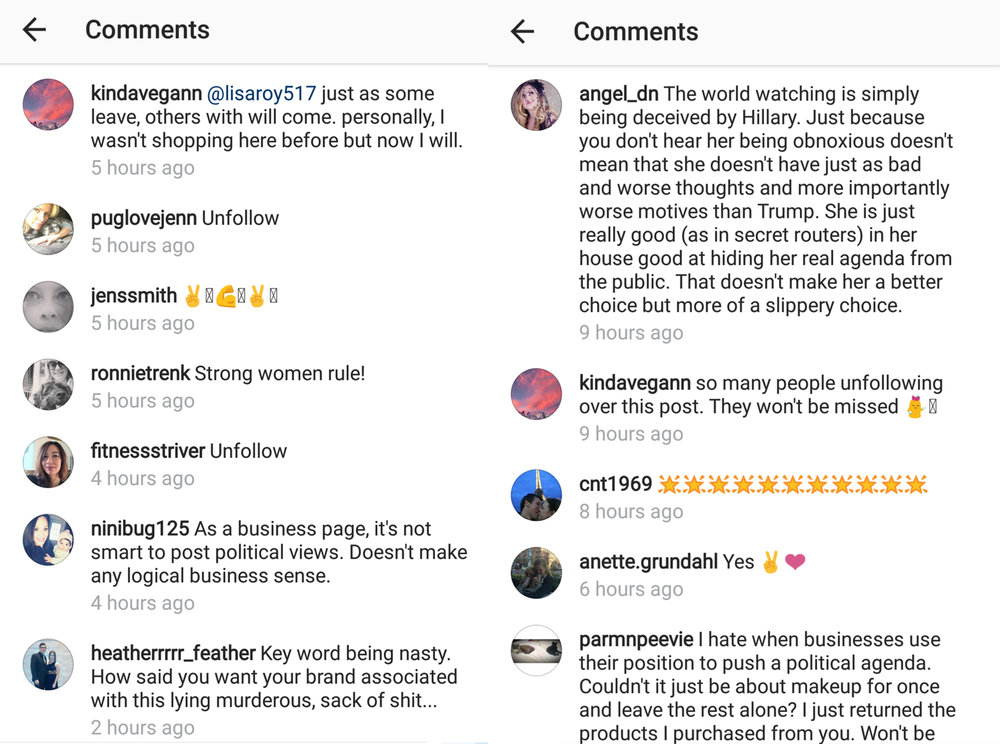 A mixed bag of mostly negative feelings from Kjaer Weis' instagram post on supporting then presidential elections candidate Hillary Clinton.