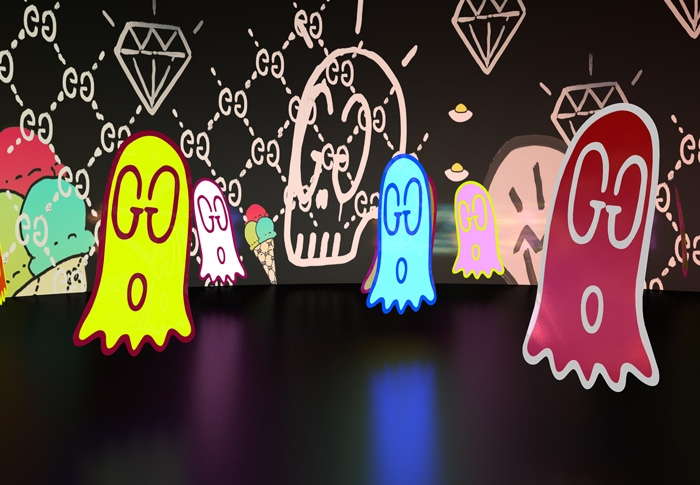 GucciGhost exhibition where original creator Trevor Andrew collaborated with Gucci designer Alessandro Michele to realise the idea in his collections.
