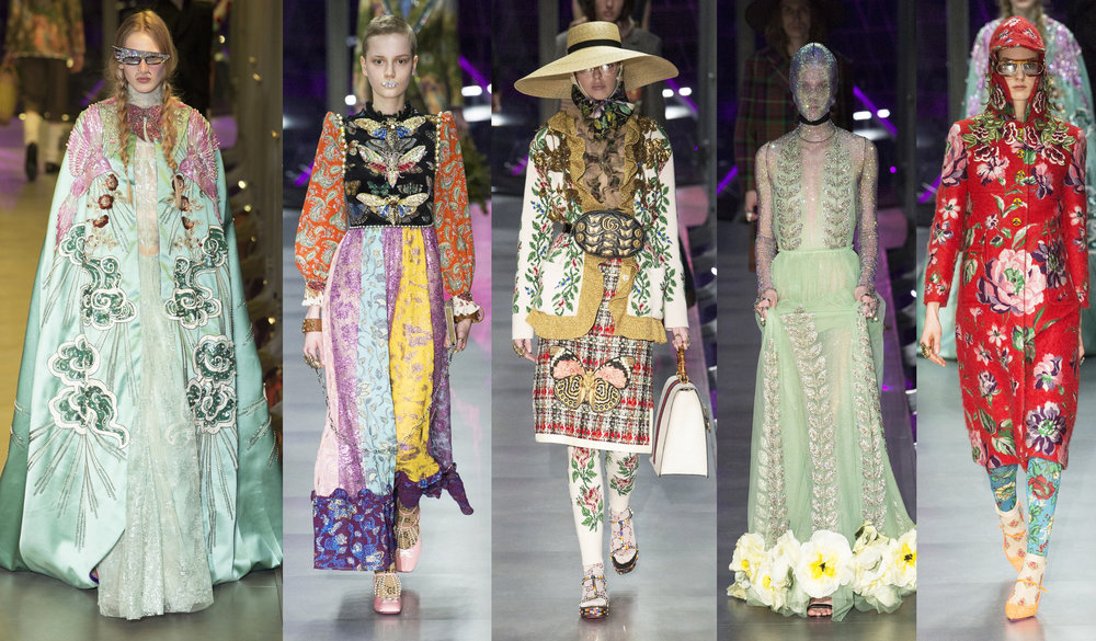 Gucci Fall Winter 2017 runway pieces showcasing Alessandro's wild imagination of infinite possibilities. Gucci's Q3 2017 results have enjoyed a fabulous 23.2% increase in revenue.