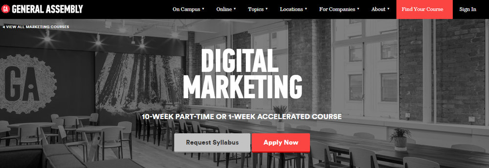 "Learn how to ""plan and execute a marketing campaign, acquire and engage users, and quantify a strategy's success"" all in just one week or stretch it over ten weeks.  In the Internet age, everything done over years needs to be fast-forwarded into just days."