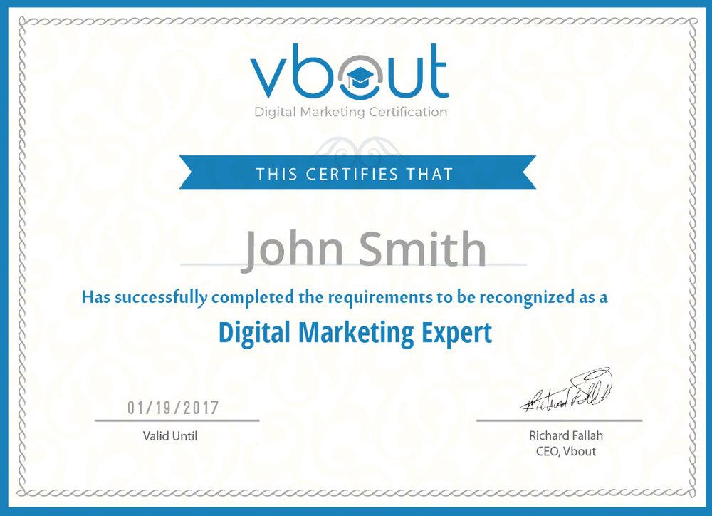 Vbout offers free digital marketing courses and upon completion, apparently you are an expert.