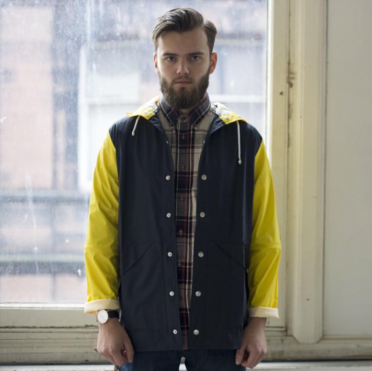 RAINS Denmark Rain Coat, Special Edition in Navy & Yellow, Harrison & Fyfe  £84