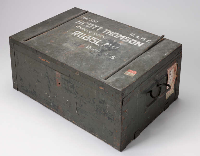Wooden chest used by Major Scott Thomson. Credit: Science Museum