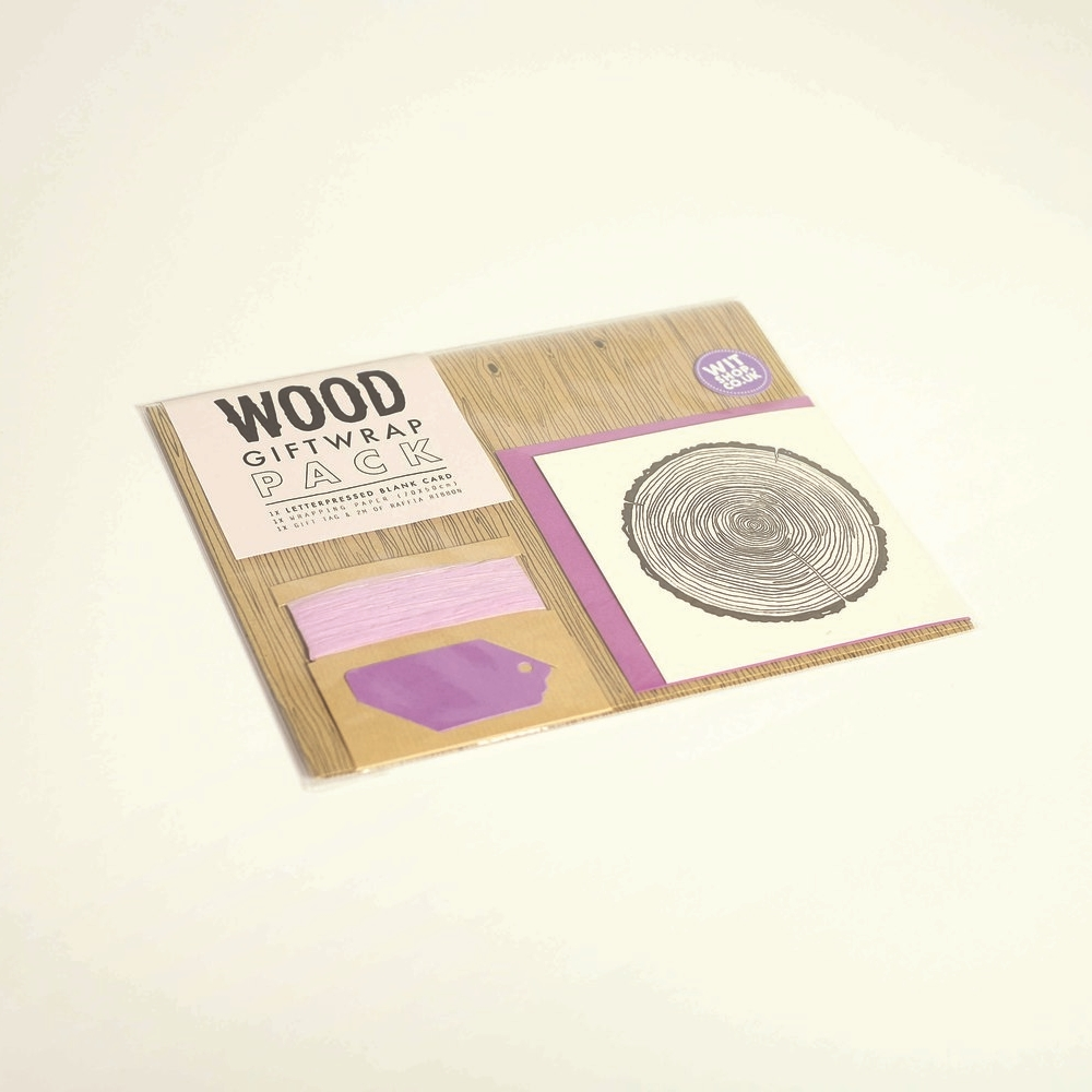 Wood Gift Wrap Pack, £5.40   Ideal for nature lovers this pack comes with a sheet of wood grain gift wrap, greeting card, envelope, gift tag and raffia ribbon.