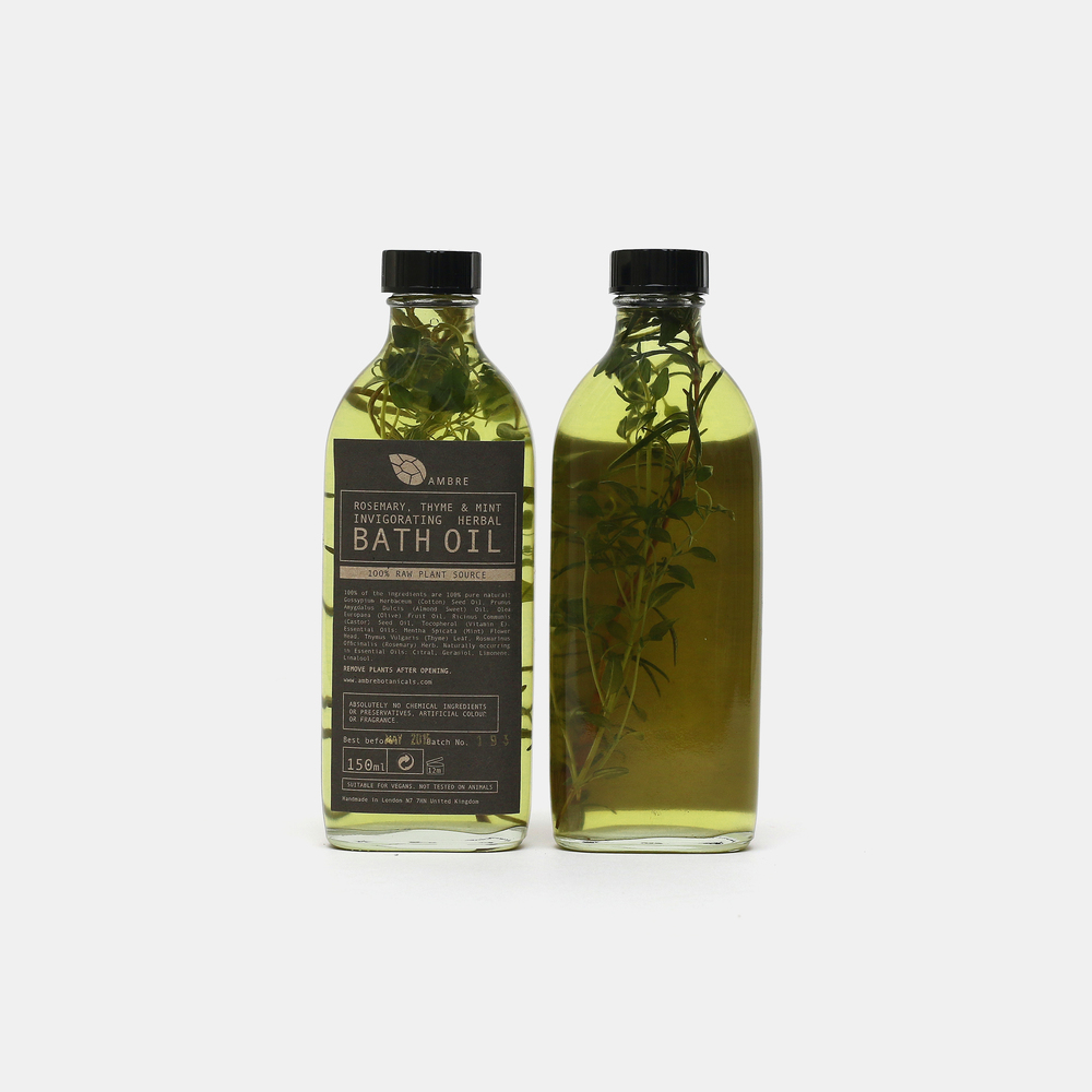 Ambre Botanicals Bath Oil, £18 This blend of rosemary, thyme and mint essential oil from Ambre Botanicals helps relieve stress, mental and physical tiredness.