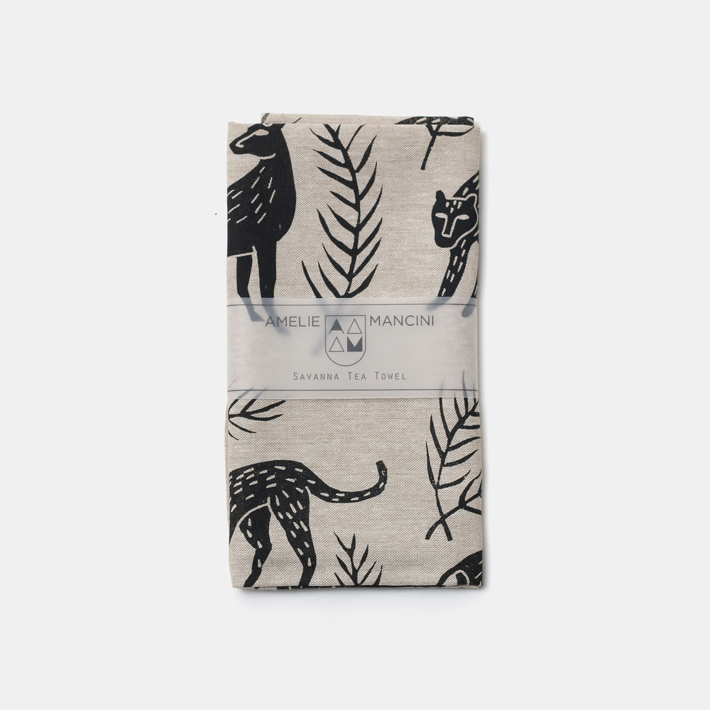 Amelie Mancini Savanna Tea Towel, £20 Brooklyn based artist Amelie Mancini uses lino cuts to print her Savanna pattern onto fabrics with water-based inks.