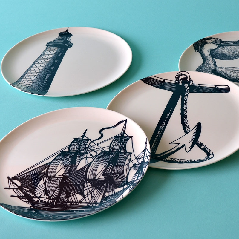 "Nautical plates, £28  ""A nautical-inspired kitchen set to keep your table looking ship shape"". Scrimshaw set designed by New York-based Thomas Paul"
