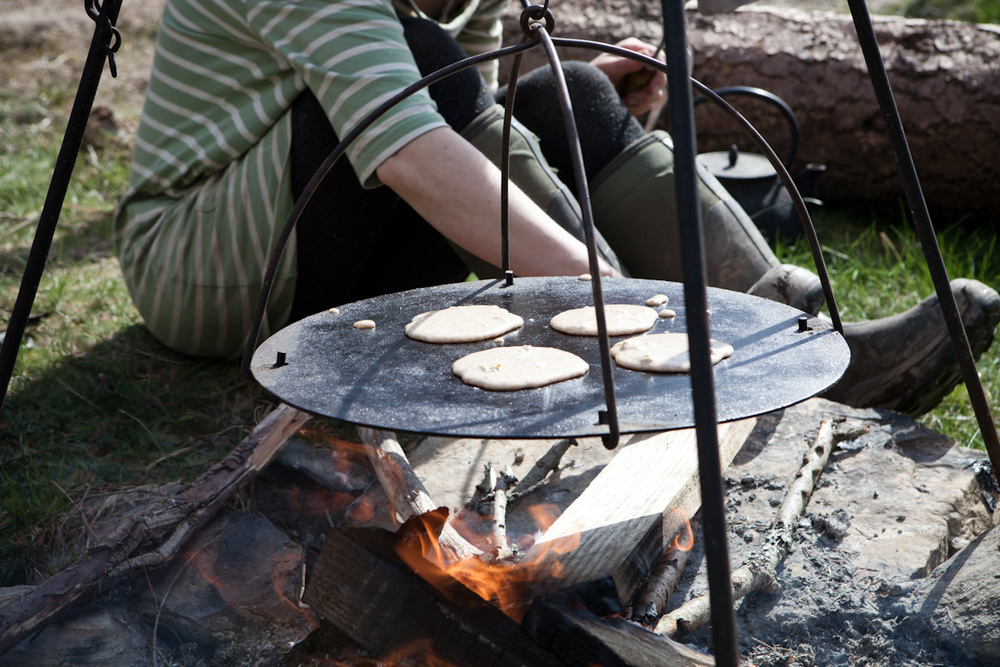 Gorse flower pancakes make a hearty breakfast, especially after a night under the stars