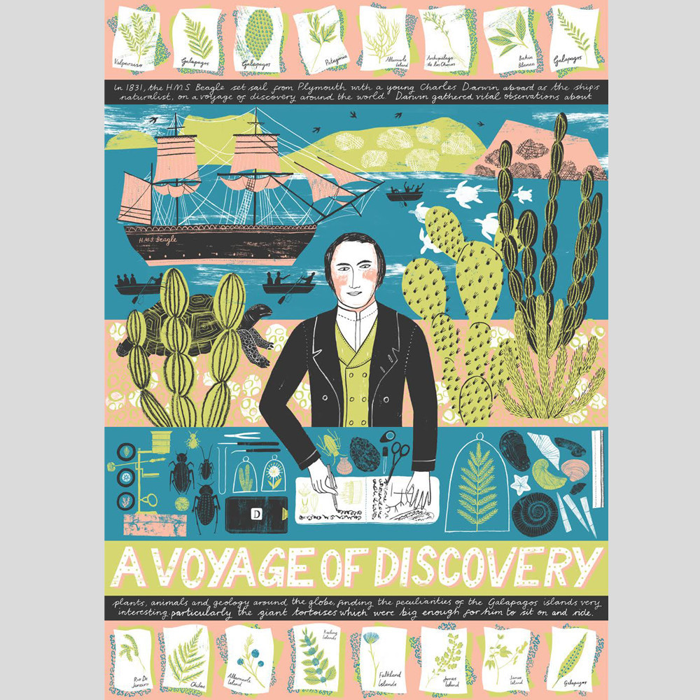 A Voyage of Discovery , by Alice Pattullo  4-colour screen print of Charles Darwin and his groundbreaking discoveries on the Galápagos islands in 1835.  £85