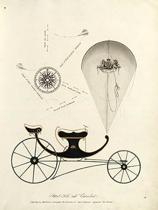 George Poock's kite-drawn carriage