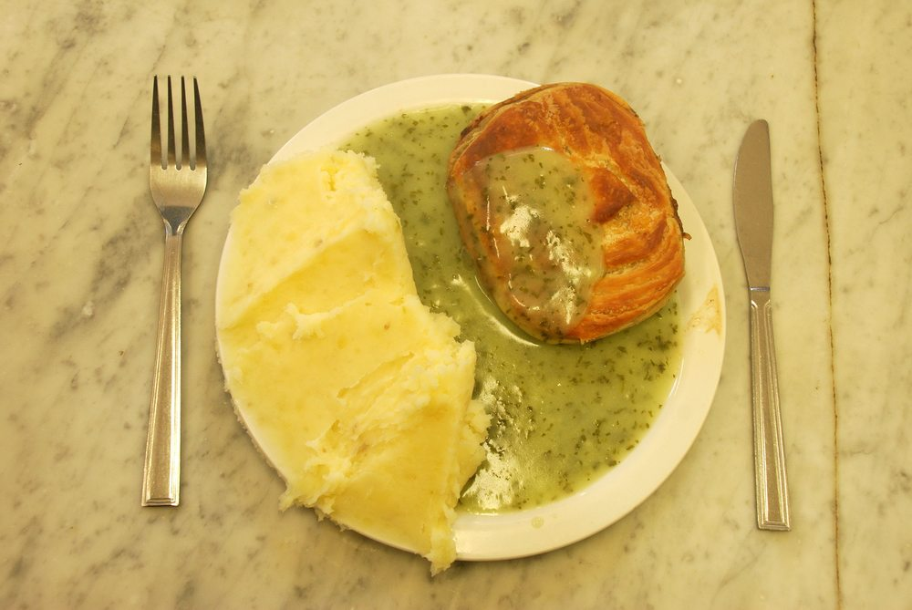 Pie'n'mash and liquor sauce at Manze's on Tower Bridge Road