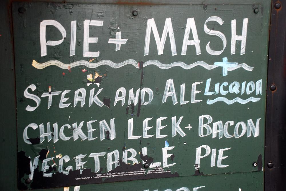 A no frills pie shop menu.