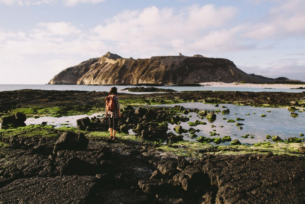 Editor Jo explores the Galapagos Islands with her trusty UNEEK originals. Photo: Graeme Owsianski