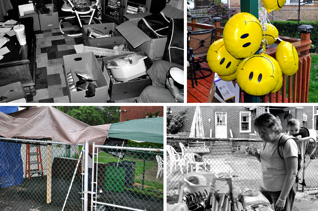 clockwise from top left: preparing for the sale; smiley ballons buckling under the (barometric) pressure; my mom and ibaby enjoying the fresh (albeint damp) air; apocalypse circus tent