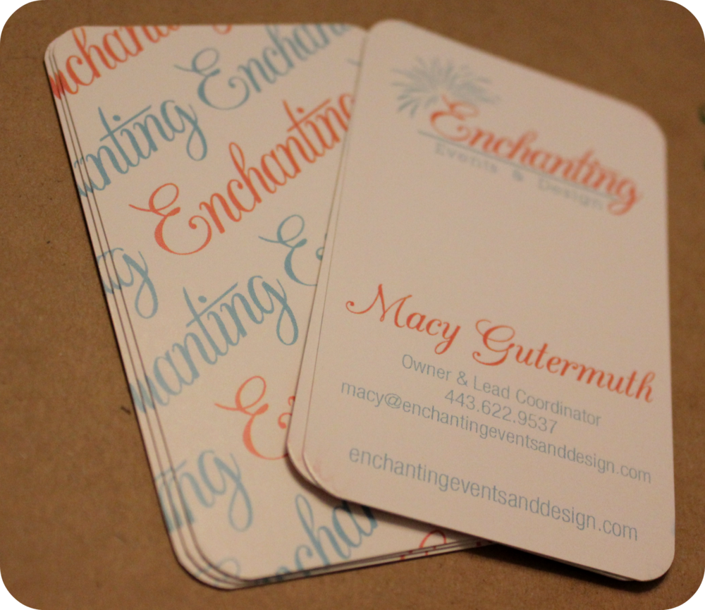 Designed by Dave. I finally have business cards for my new event planning adventure!