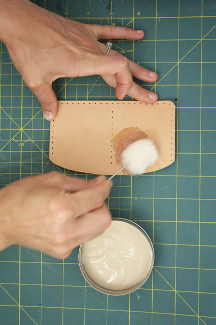 5. Apply the leather conditioner with a wool dauber.