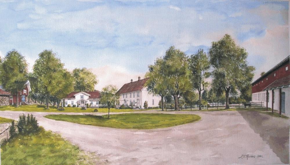 Berger gård. Akvarell malt av Johs. Torbjørn Rudrud