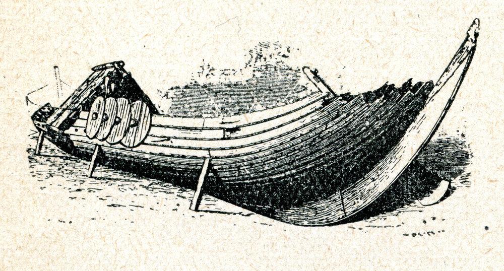 Gokstadskipet illustrert slik man tenkte seg den standen det var i når det ble gravet ut i 1880.