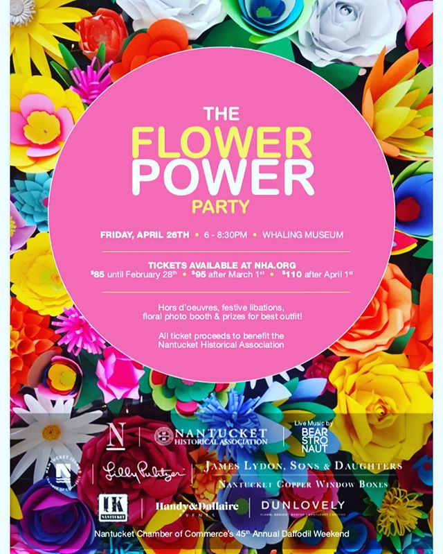 Excited to announce we will be back in Nantucket for another Flower Power party with our good friends at @nantucket_magazine and @ackhistory April 26th!! Get your tickets now and come dance!  #ack #flowerpowerparty  #daffyweekend