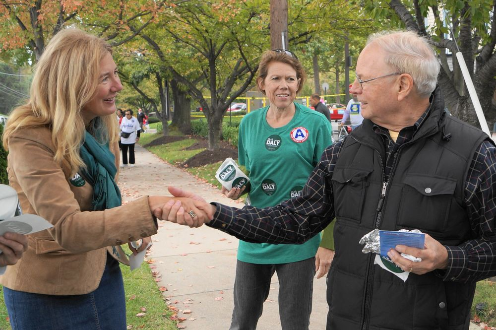 Meeting voters in Potomac