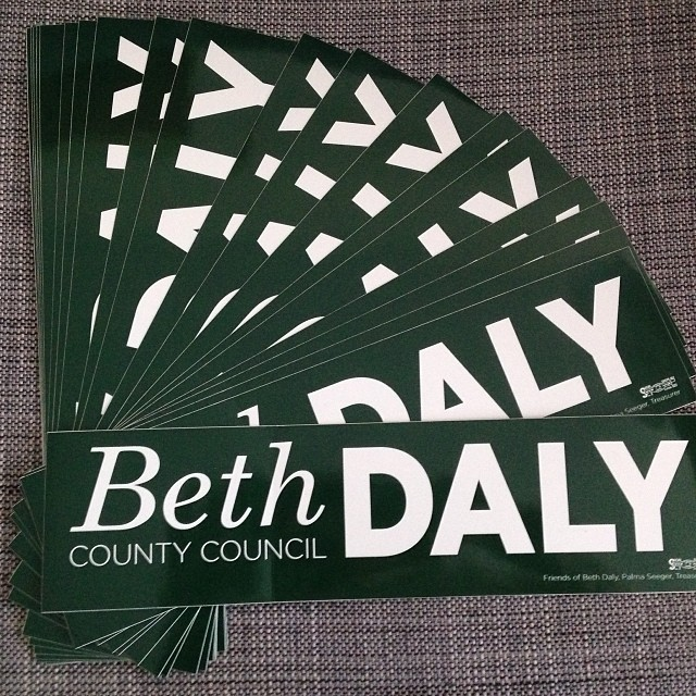To order your free Beth Daly bumper sticker, drop us a line at bethdaly.org/contact.