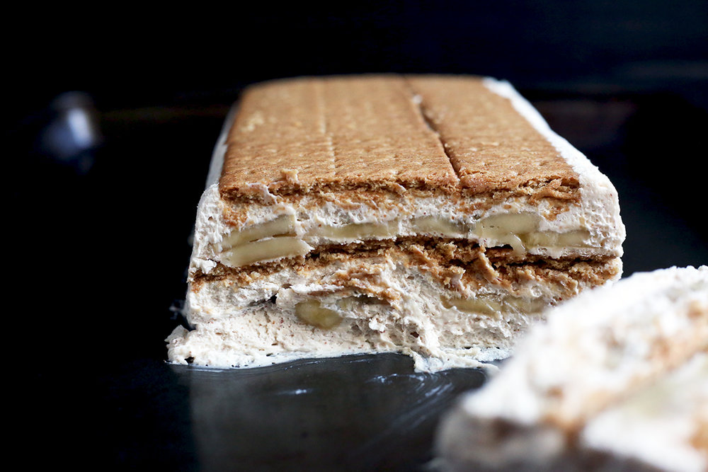 Here's a banana + peanut butter + graham cracker icebox cake! Soft on soft!