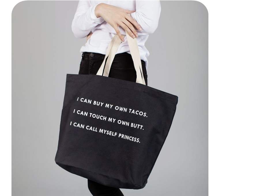 [Sorry, I don't know where to buy it! A friend sent it to me…so, we'll all have to dream or, just make our own tote bags.]