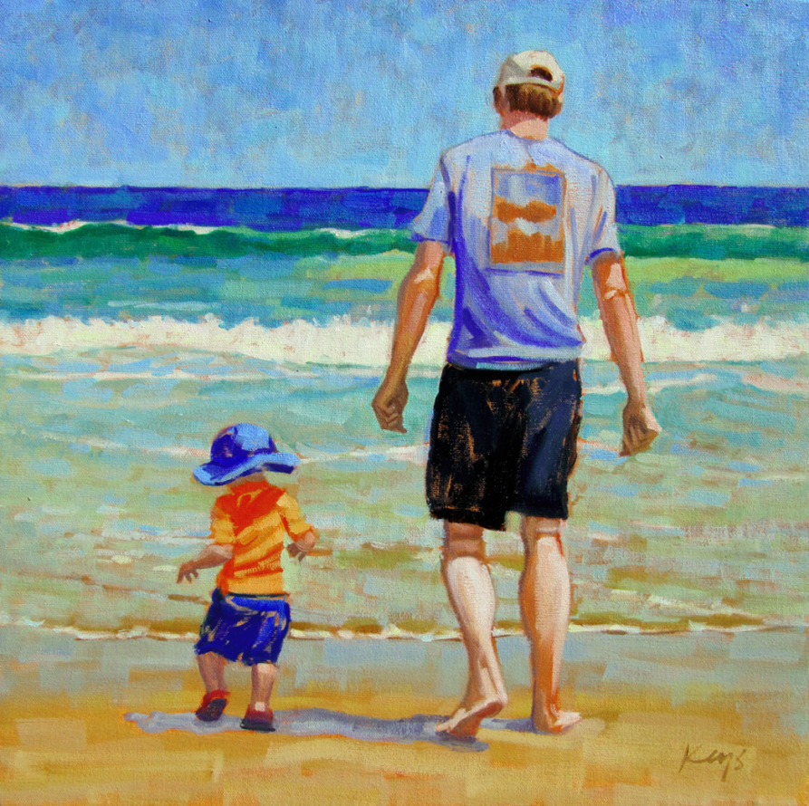 walking into waves, father and son, 18 x 18 myres  granville tilghman ben keys.jpg