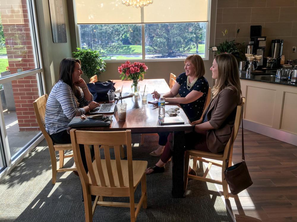 Meeting female entrepreneurs at Dunn Bros Coffee in Davenport, IA.