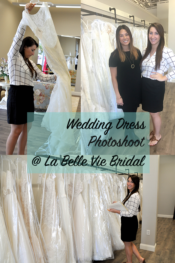 Picking out dresses at La Belle Vie Bridal for our wedding blog photoshoot.