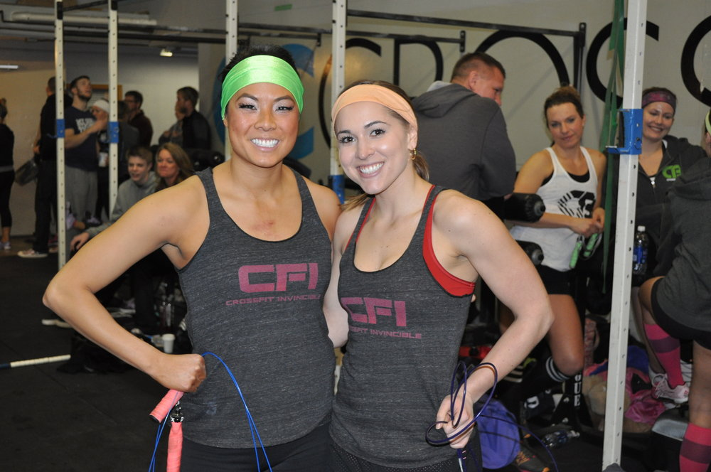The only two-person team at the Heartbreakers Crossfit competition, February 2014. Partner Jessica and I had so much fun and were 'quick on our feet' to revise the game plan.