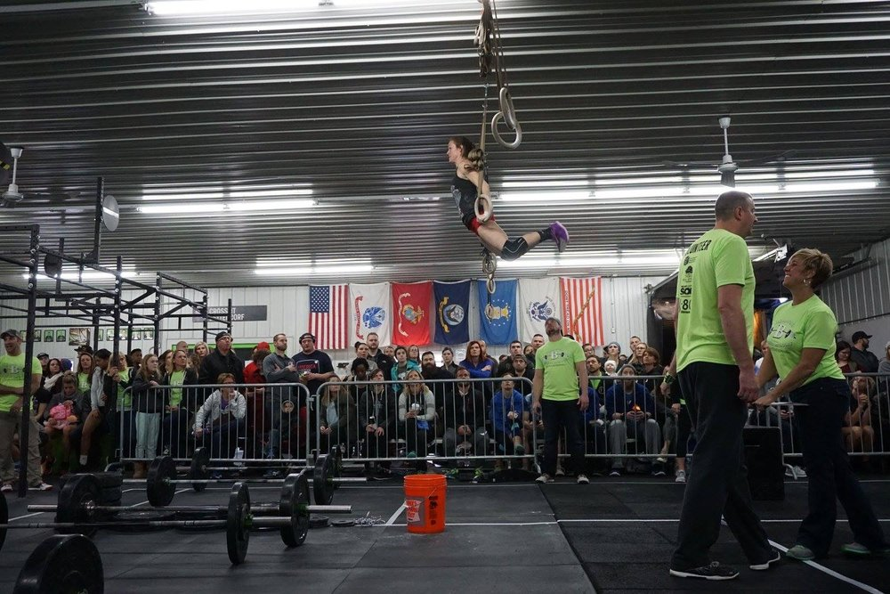 Team member Ellen 'flying' during WOD 3 where we had to make quick adjustments!  Photo Credit: Jay Strief